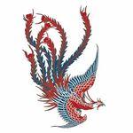 タトゥーシール 赤鳳凰ミニ(タトゥー・刺青シール)