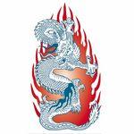 タトゥーシール 火炎ドラゴン・赤(タトゥー・刺青シール)