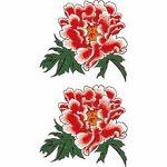 タトゥーシール 赤牡丹点描(タトゥー・刺青シール)