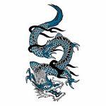 タトゥーシール 青ドラゴン1(タトゥー・刺青シール)
