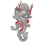 タトゥーシール 線画・黒ドラゴン(タトゥー・刺青シール)