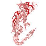 タトゥーシール 線画・赤ドラゴン(タトゥー・刺青シール)