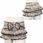 リボンフリルレースチェックミニスカート ベージュ(衣装・コスチューム)
