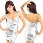 ハイウエストメタリックドレス (シルバー)(衣装・コスチューム)