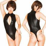 フロントダブルジッパースーパーハイレグ競泳水着 ブラック(衣装・コスチューム)