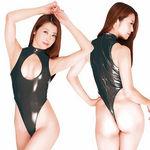 エナメル2wayハイネック胸オープンファスナー付レオタード ブラック(衣装・コスチューム)