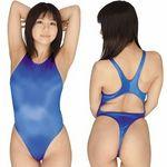 光沢ストレッチハイレグ競泳水着 ブルー(衣装・コスチューム)