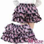 3段ティアードスカート単品 ピンクラメチェック M(衣装・コスチューム)