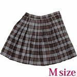 チェック柄プリーツスカート単品 ブラウン M(衣装・コスチューム)