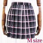チェック柄プリーツスカート 黒×グレー×ピンク M(衣装・コスチューム)