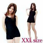 パッド付きの本物スクール水着(ズボンタイプ) 黒 XXL(衣装・コスチューム)