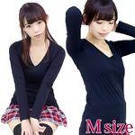アメリカ製の高品質な綿100%レディースVネック長袖カットソー 黒 Mサイズ(衣装・コスチューム)