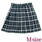 ポケット付きのチェック柄プリーツスカート単品 緑×白 Mサイズ(衣装・コスチューム)