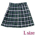 ポケット付きのチェック柄プリーツスカート単品 緑×白 Lサイズ(衣装・コスチューム)