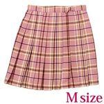 ポケット付きのチェック柄プリーツスカート単品 ピンク×キャメル Mサイズ(衣装・コスチューム)