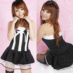 カチューシャ付・黒×白ミニスカドレス(衣装・コスチューム)