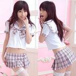 ピンクチェックリボンの可愛いセーラー服(衣装・コスチューム)