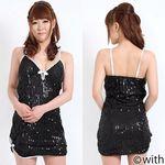 スパンコール付・ブラックミニドレス(衣装・コスチューム)