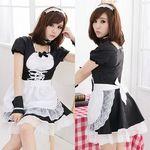 カフス付・黒×白ラブリーレースメイド(衣装・コスチューム)