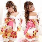 白×花柄・花魁風ワンピースのミニ着物(衣装・コスチューム)