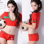 ゆるトップスのセクシーサッカーガール・赤(衣装・コスチューム)