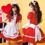 リボン襟×フリルラブリーメイド・赤(衣装・コスチューム)
