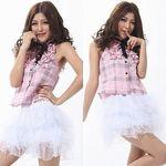 チェックトップス×パニエスカートドレス(衣装・コスチューム)