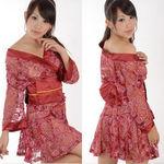 総花柄レースの裾プリーツ着物ドレス・赤(衣装・コスチューム)