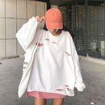 ストリート オーバーサイズ 大きいサイズ ダメージ加工ロンT ホワイト(衣装・コスチューム)