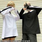 ユニセックス大きいストリート系襟付き2本ライントレーナー ブラック(衣装・コスチューム)