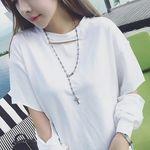 ゆったりロンT袖っ切りデザイン アシンメトリー ホワイト(衣装・コスチューム)