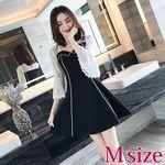 シースルー袖のライン入りワンピースドレス M(衣装・コスチューム)