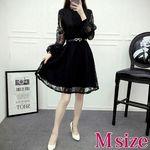 ブラックレースAラインワンピースドレス Mサイズ(衣装・コスチューム)