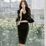 背面スリット入り大人ドレス ブラック(衣装・コスチューム)