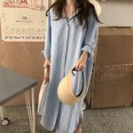 ヴィンテージ加工の大きめロングワンピースシャツ M(衣装・コスチューム)