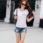 レディースVネック 2本紐デザインTシャツ ホワイト M(衣装・コスチューム)