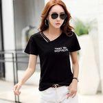 レディースVネック 2本紐デザインTシャツ ブラック M(衣装・コスチューム)