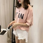 FiN ワンポイント英字 ロゴ半袖Tシャツ M ピンク(衣装・コスチューム)