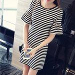 袖2段仕様 白黒細ボーダーミニワンピース M(衣装・コスチューム)