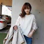 七分丈袖レース ホワイトTシャツ M(衣装・コスチューム)