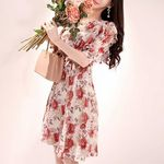 Aライン花柄フリルワンピース 半袖 M(衣装・コスチューム)