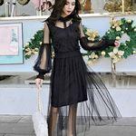 インナーキャミソール+花模様メッシュドレス セット M ブラック(衣装・コスチューム)