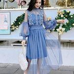 インナーキャミソール+花模様メッシュドレス セット M ブルー(衣装・コスチューム)