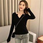 セクシーVカット ニットセーター ブラック(衣装・コスチューム)
