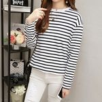 白黒細めのボーダーロングTシャツ(衣装・コスチューム)
