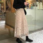 リバーシブル ヒラヒラ水玉ロングスカート ベージュ(衣装・コスチューム)