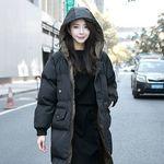 フード付きロングダウンジャケット 2XL ブラック(衣装・コスチューム)