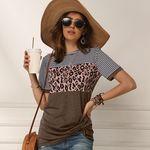 パンサー柄 切り替えTシャツ Mサイズ ブラウン(衣装・コスチューム)