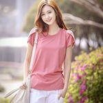 ワンポイント二重仕立てショルダー スリット入り無地Tシャツ Mサイズ ピンク(衣装・コスチューム)