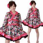 ミニ着物ドレス・フリル 黒 M(衣装・コスチューム)